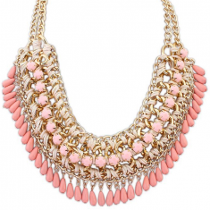 Miriah Draped Statement Necklace, Vintage Pink