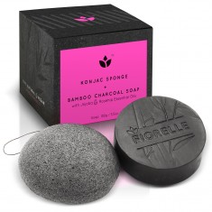 Bamboo Charcoal Soap and Konjac Sponge Gift Set
