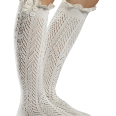 Norah Lacey Boot Socks, Ivory