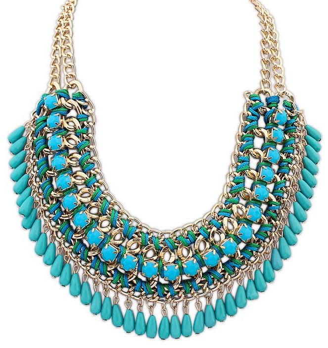 Miriah Draped Statement Necklace, Turquoise