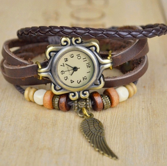 Romira Brown Charm Bracelet & Watch