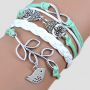 Infinite Love owl charm multi layer bracelet