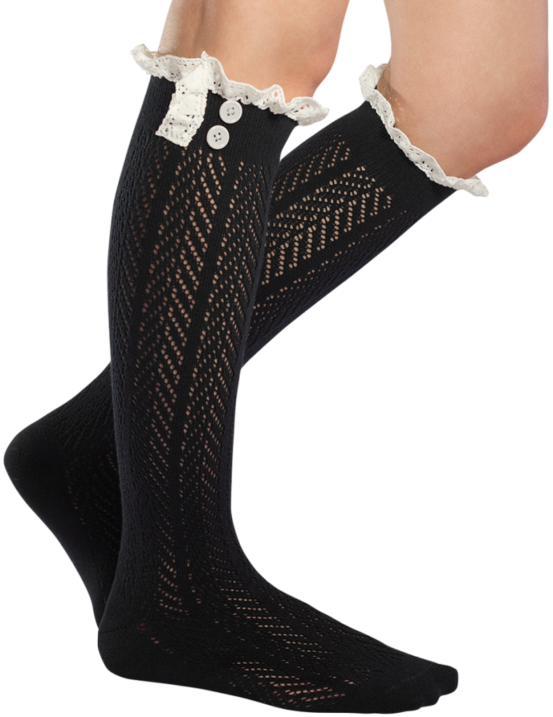 Norah Lacey Boot Socks, Black