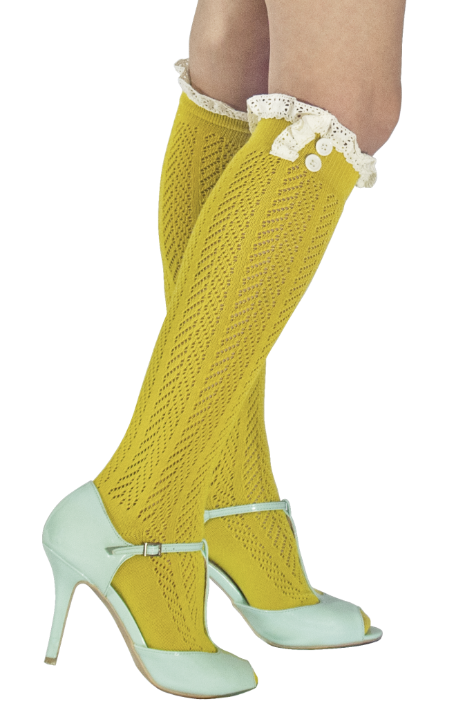Norah Lacey Boot Socks, Gold